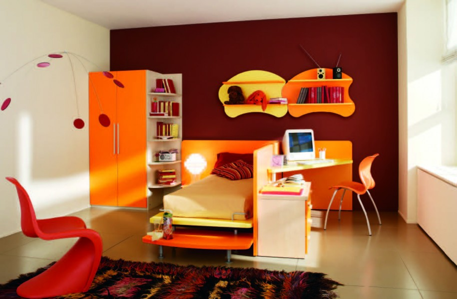 Stunning Bedroom Decorating Ideas for Children with Orange Bedroom Furniture Set feat Computer Desk and Laminated Wood Flooring Ideas 915x598