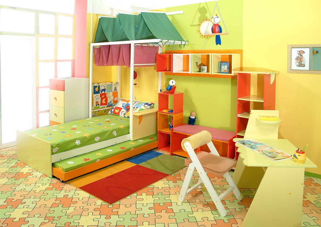 furniture for childrens room design with yellow painting wall and green floral bedding set as well colorful pattern rug