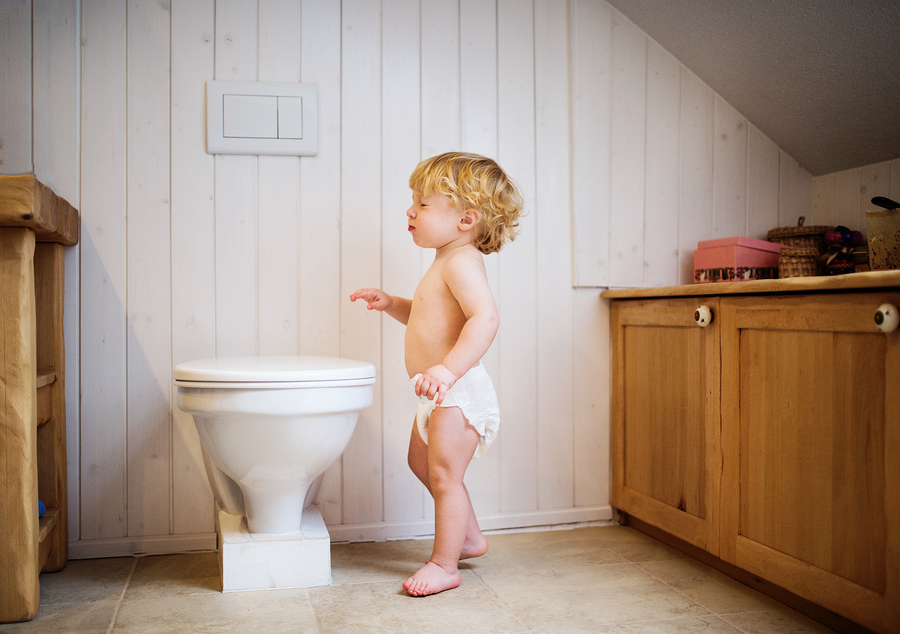 bigstock Cute Toddler In The Bathroom 235450822